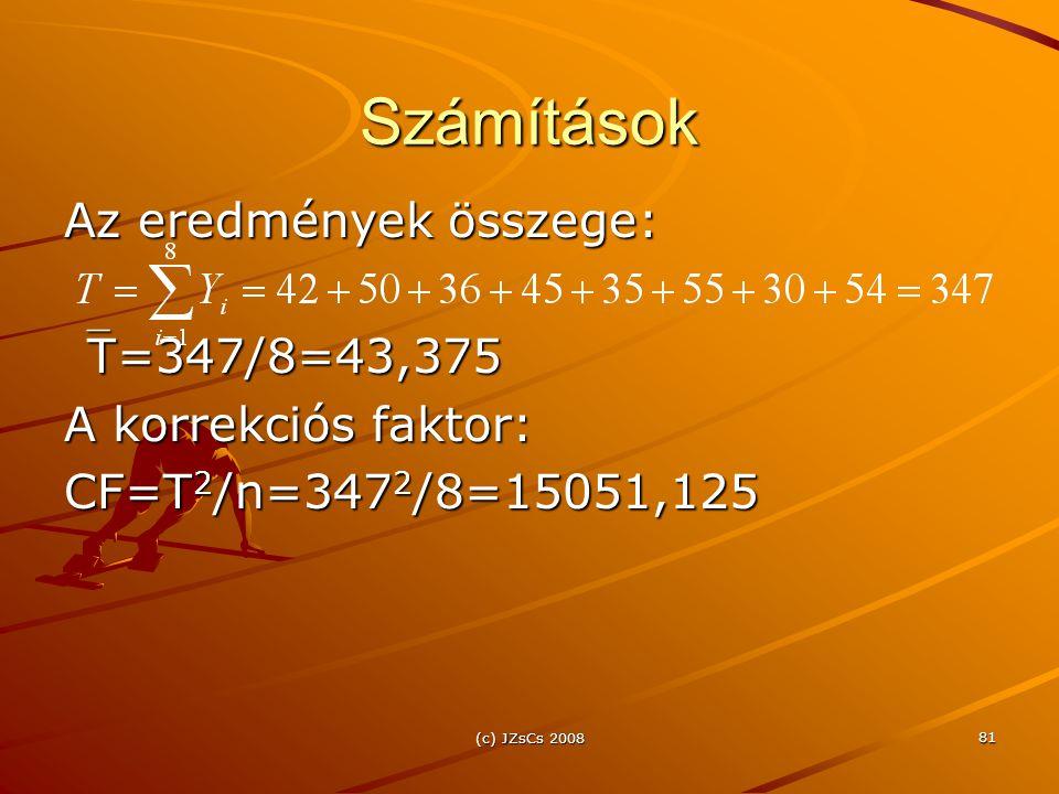 Számítások Az eredmények összege: T=347/8=43,375 A korrekciós faktor: