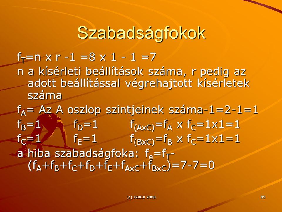 Szabadságfokok fT=n x r -1 =8 x 1 - 1 =7