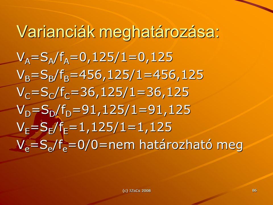 Varianciák meghatározása: