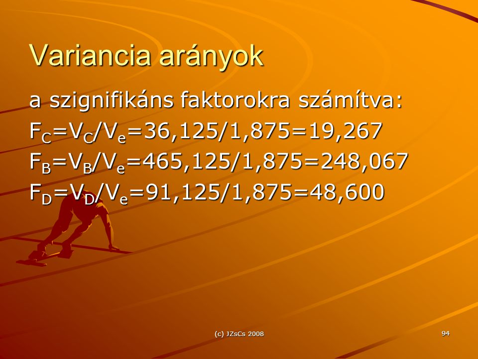 Variancia arányok a szignifikáns faktorokra számítva: