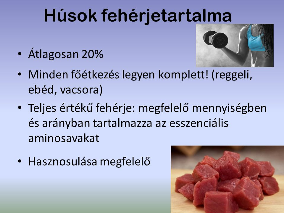 Húsok fehérjetartalma