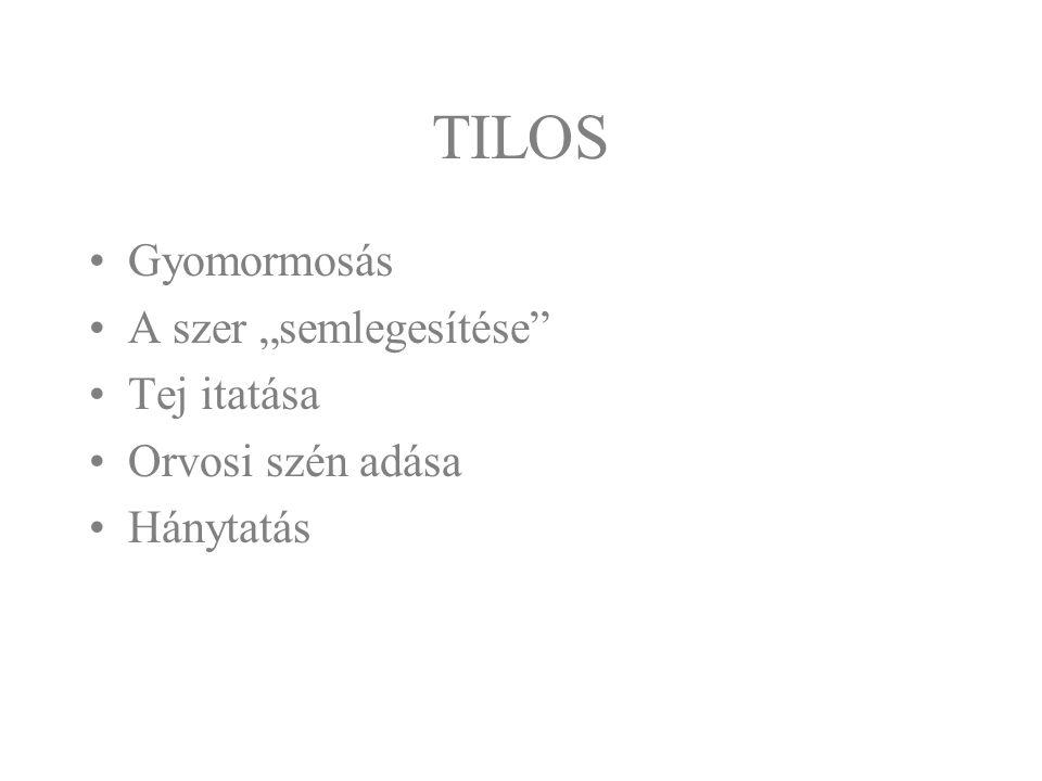 """TILOS Gyomormosás A szer """"semlegesítése Tej itatása Orvosi szén adása"""