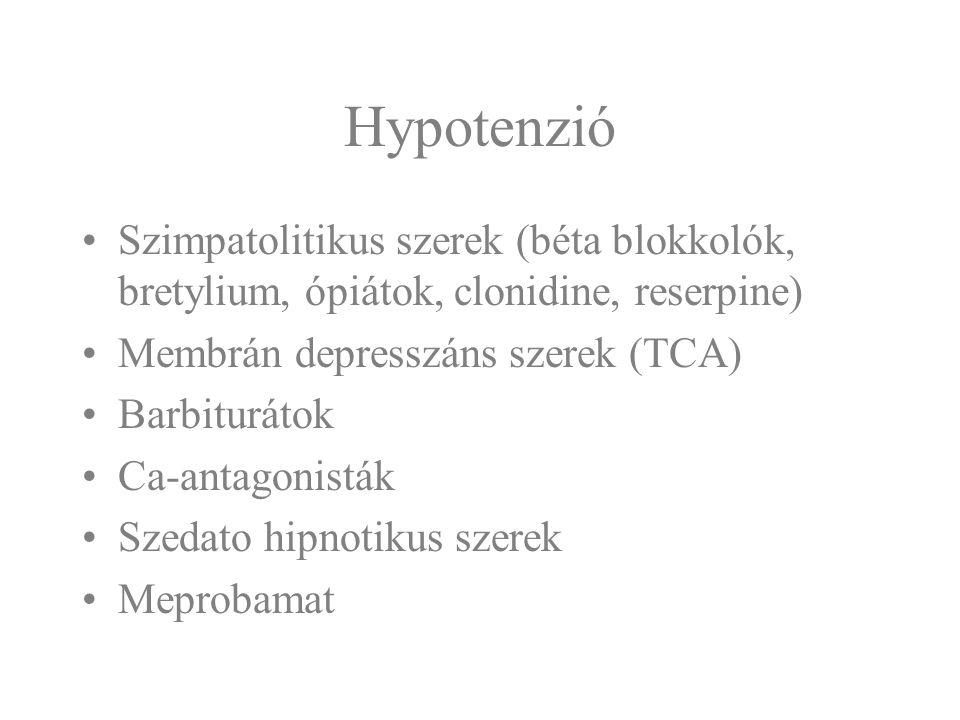 Hypotenzió Szimpatolitikus szerek (béta blokkolók, bretylium, ópiátok, clonidine, reserpine) Membrán depresszáns szerek (TCA)