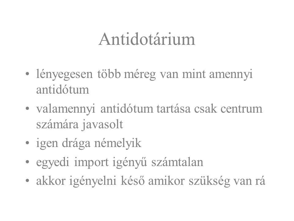 Antidotárium lényegesen több méreg van mint amennyi antidótum