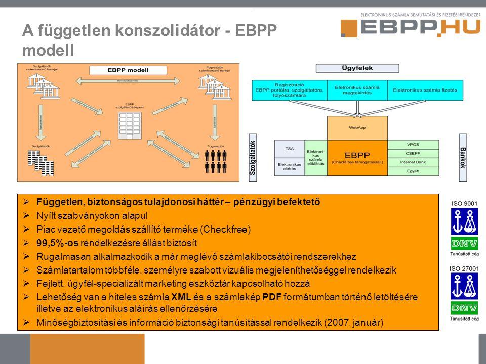 A független konszolidátor - EBPP modell