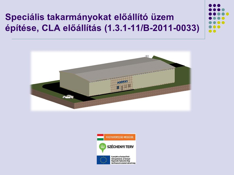 Speciális takarmányokat előállító üzem építése, CLA előállítás (1. 3
