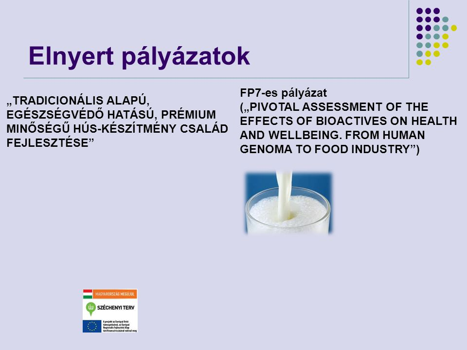 "Elnyert pályázatok FP7-es pályázat (""PIVOTAL ASSESSMENT OF THE EFFECTS OF BIOACTIVES ON HEALTH AND WELLBEING. FROM HUMAN GENOMA TO FOOD INDUSTRY )"