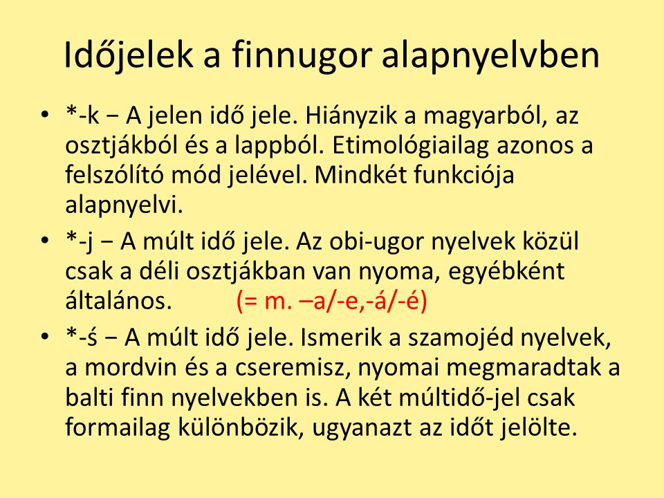 Időjelek a finnugor alapnyelvben