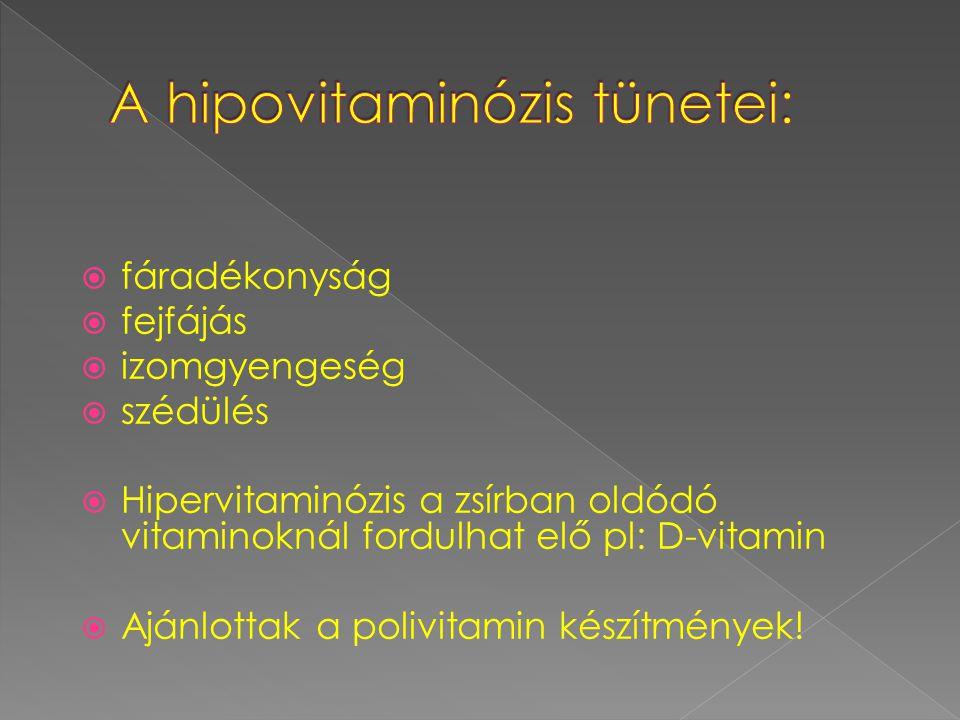 A hipovitaminózis tünetei: