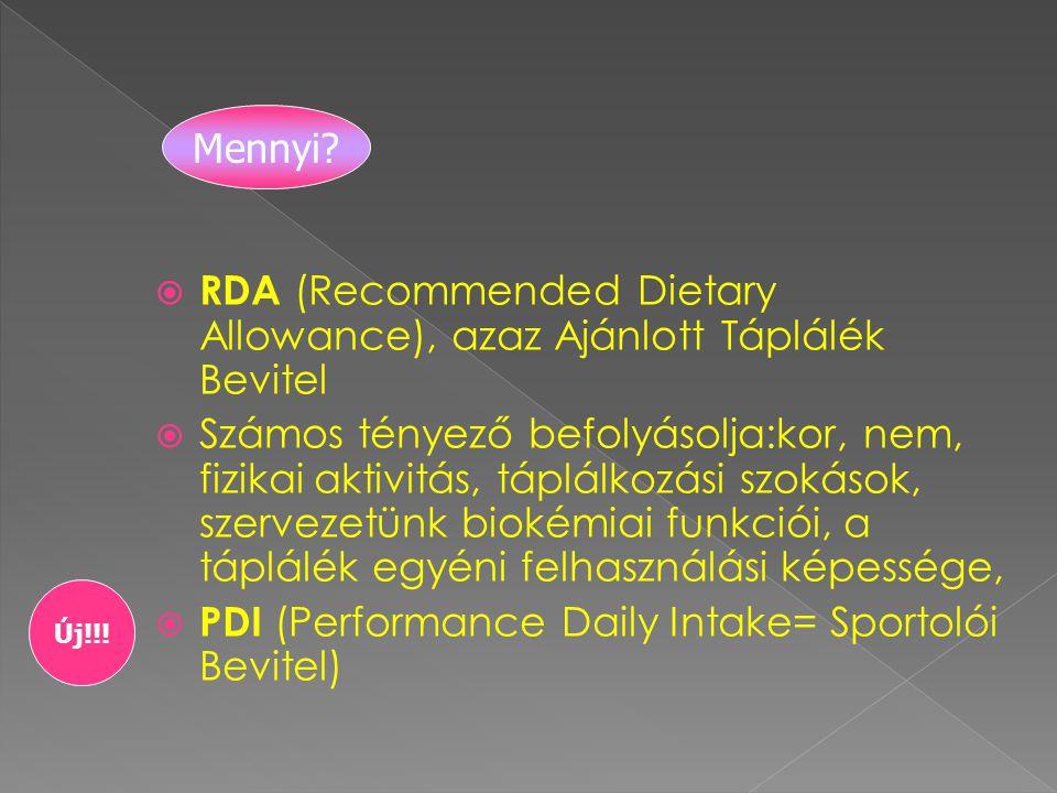 RDA (Recommended Dietary Allowance), azaz Ajánlott Táplálék Bevitel