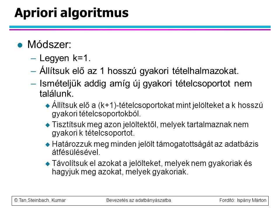 Apriori algoritmus Módszer: Legyen k=1.