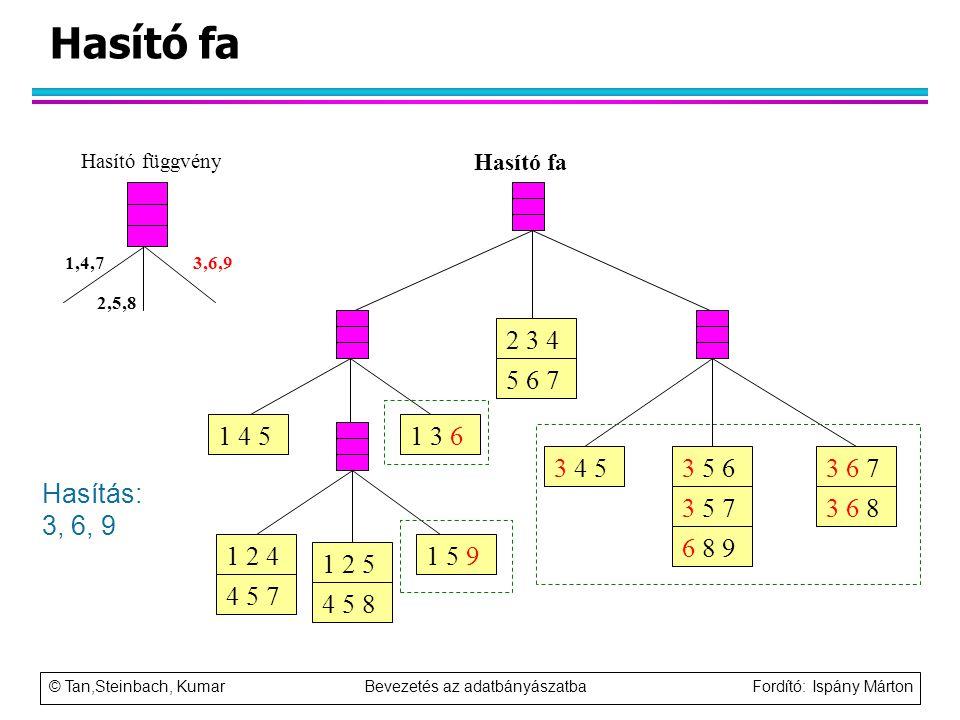 Hasító fa Hasító függvény. Hasító fa. 1 5 9. 1 4 5. 1 3 6. 3 4 5. 3 6 7. 3 6 8. 3 5 6. 3 5 7.