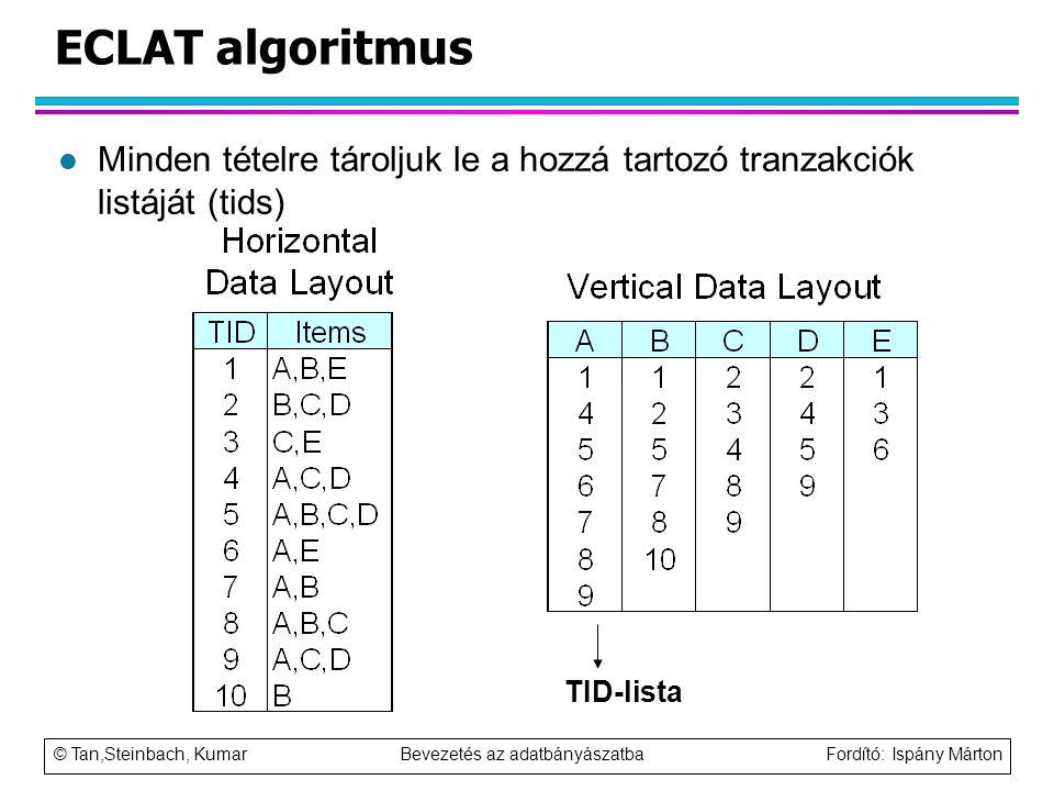ECLAT algoritmus Minden tételre tároljuk le a hozzá tartozó tranzakciók listáját (tids) TID-lista