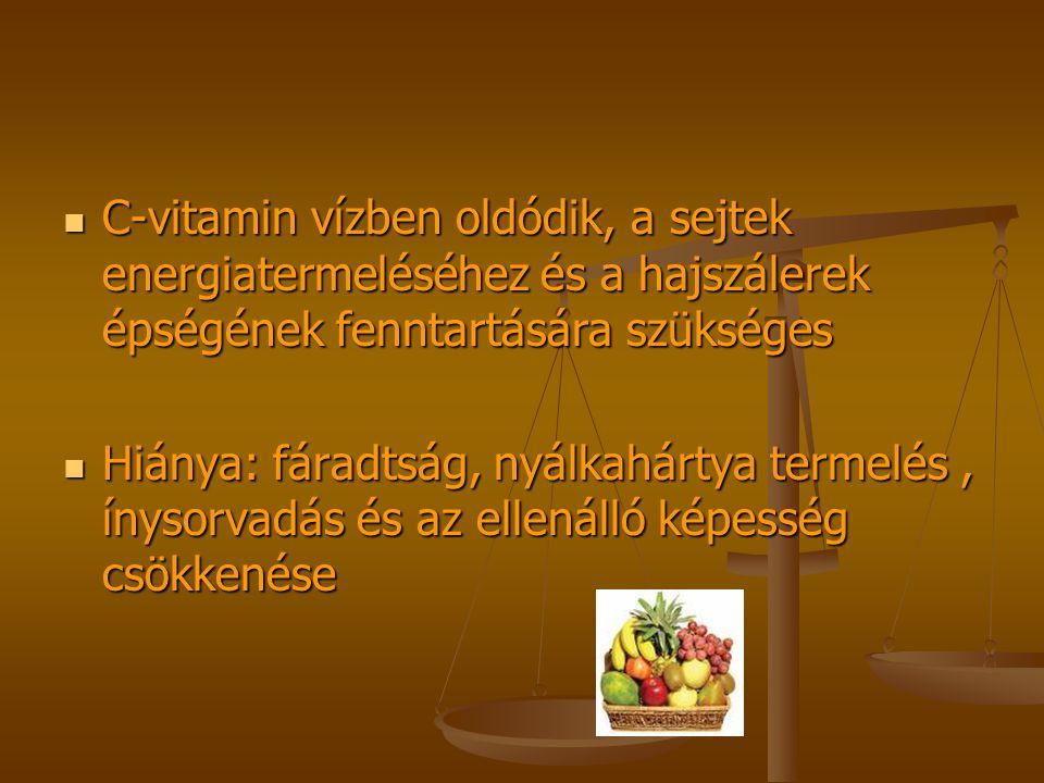 C-vitamin vízben oldódik, a sejtek energiatermeléséhez és a hajszálerek épségének fenntartására szükséges