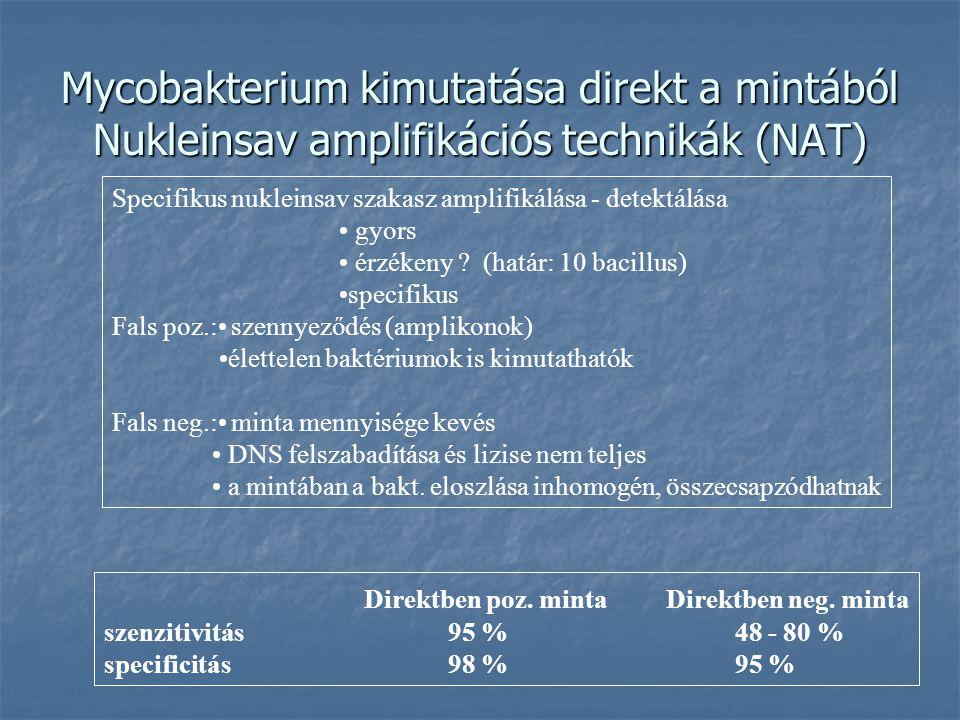 Mycobakterium kimutatása direkt a mintából Nukleinsav amplifikációs technikák (NAT)