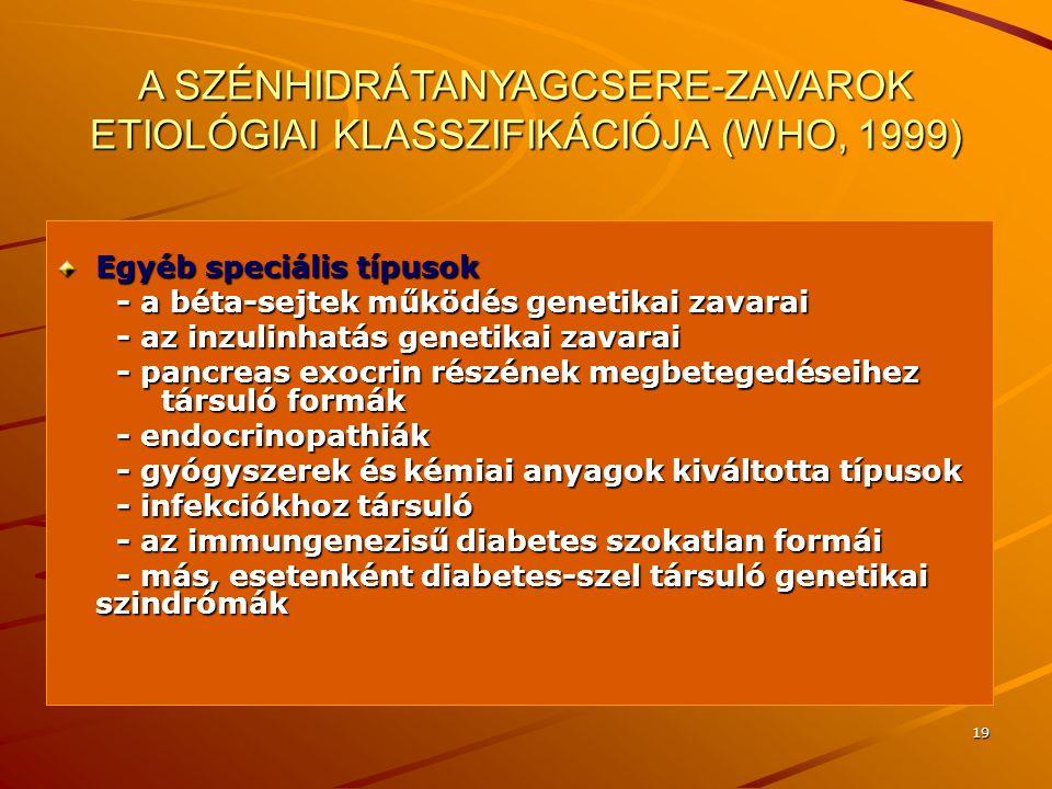 A SZÉNHIDRÁTANYAGCSERE-ZAVAROK ETIOLÓGIAI KLASSZIFIKÁCIÓJA (WHO, 1999)