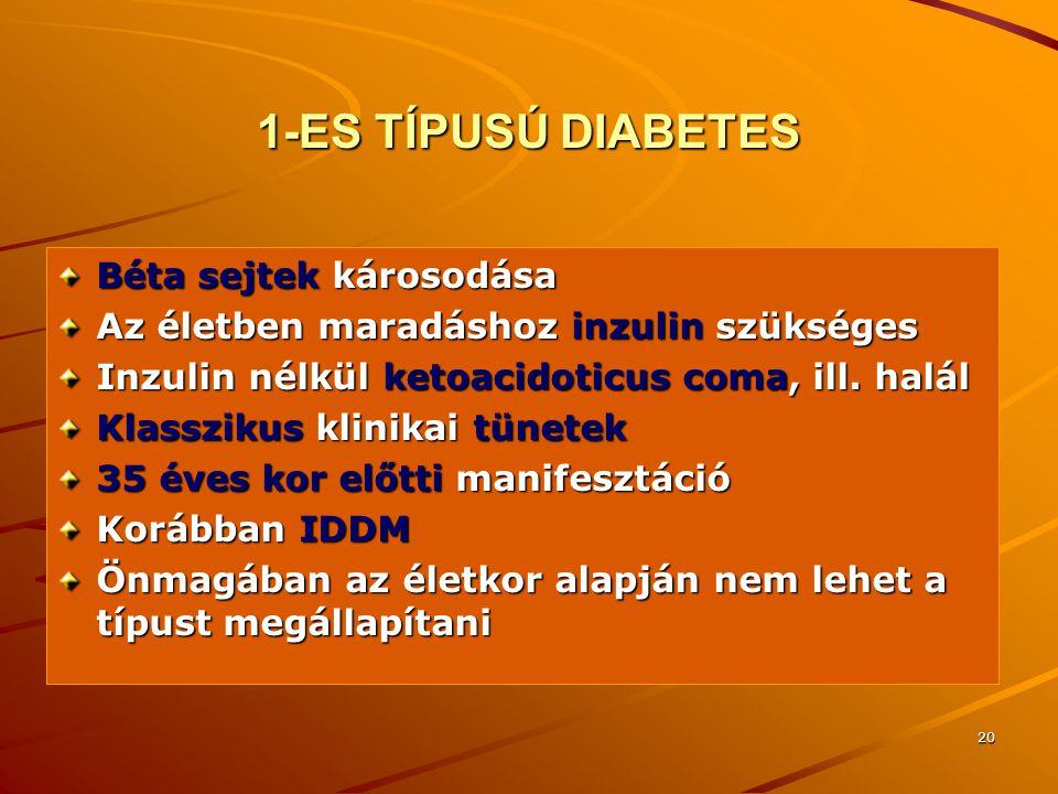 1-ES TÍPUSÚ DIABETES Béta sejtek károsodása