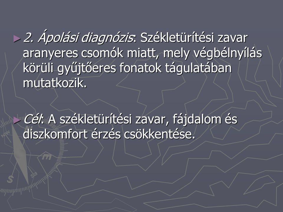 2. Ápolási diagnózis: Székletürítési zavar aranyeres csomók miatt, mely végbélnyílás körüli gyűjtőeres fonatok tágulatában mutatkozik.
