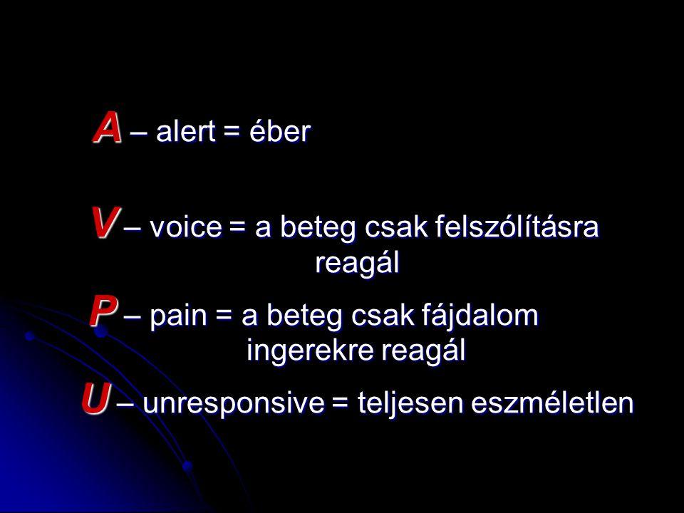 V – voice = a beteg csak felszólításra reagál