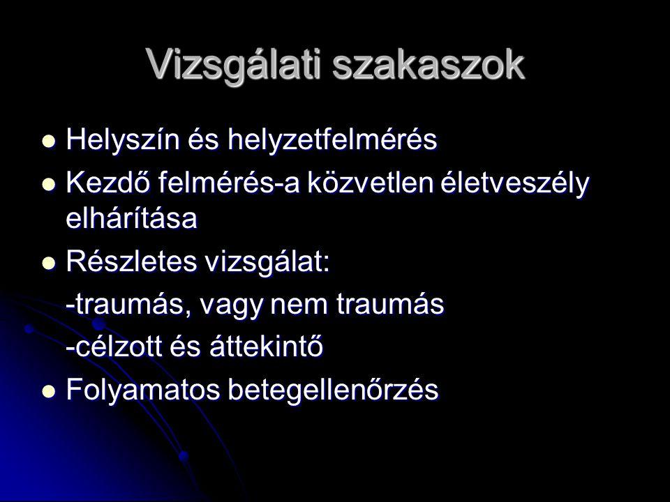 Vizsgálati szakaszok Helyszín és helyzetfelmérés