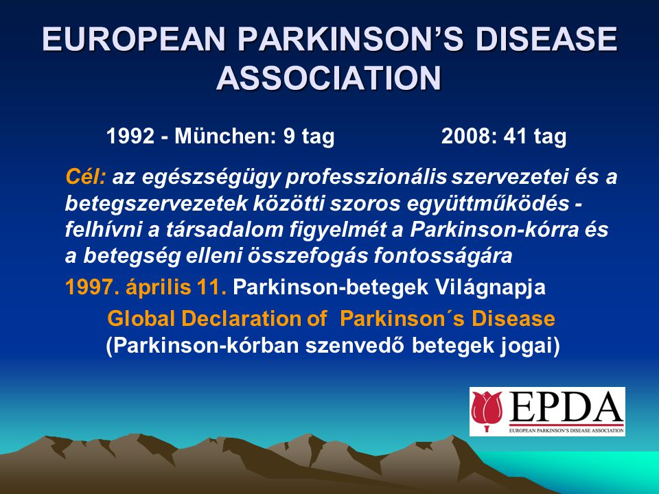 EUROPEAN PARKINSON'S DISEASE ASSOCIATION