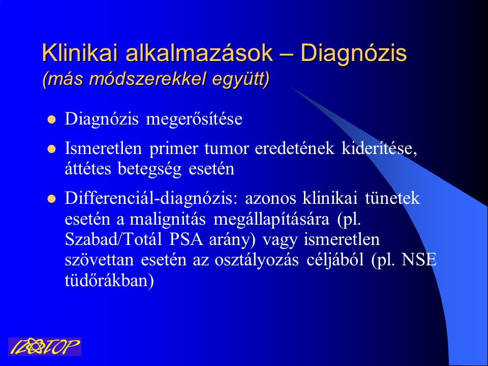 Klinikai alkalmazások – Diagnózis (más módszerekkel együtt)