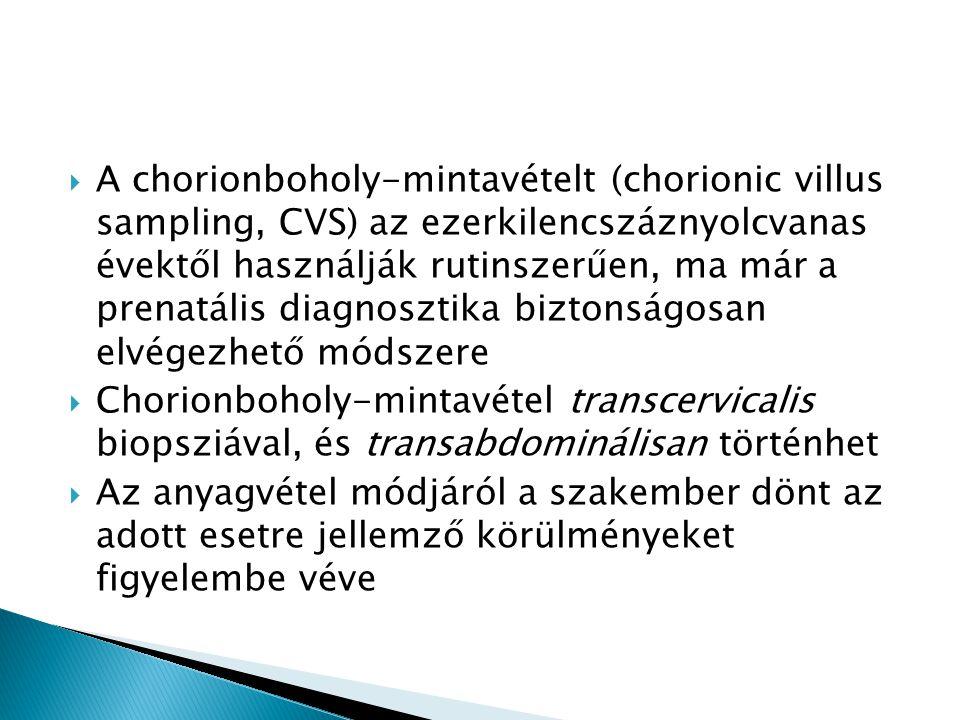 A chorionboholy-mintavételt (chorionic villus sampling, CVS) az ezerkilencszáznyolcvanas évektől használják rutinszerűen, ma már a prenatális diagnosztika biztonságosan elvégezhető módszere