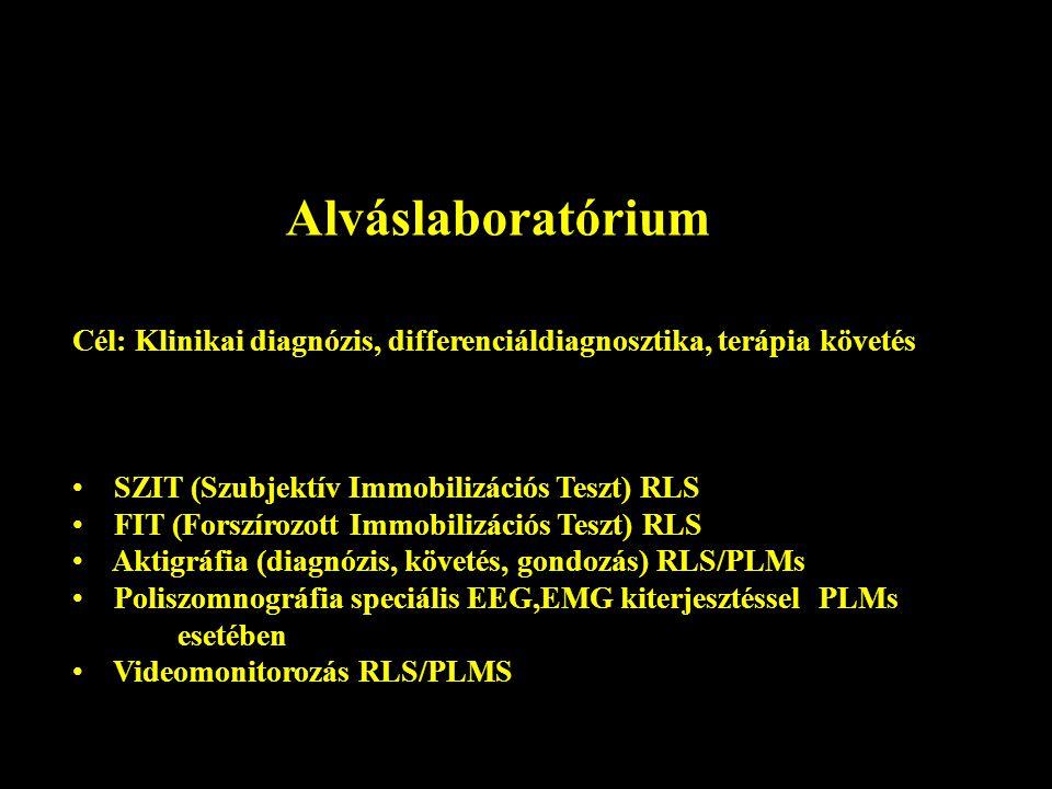 Alváslaboratórium Cél: Klinikai diagnózis, differenciáldiagnosztika, terápia követés. SZIT (Szubjektív Immobilizációs Teszt) RLS.