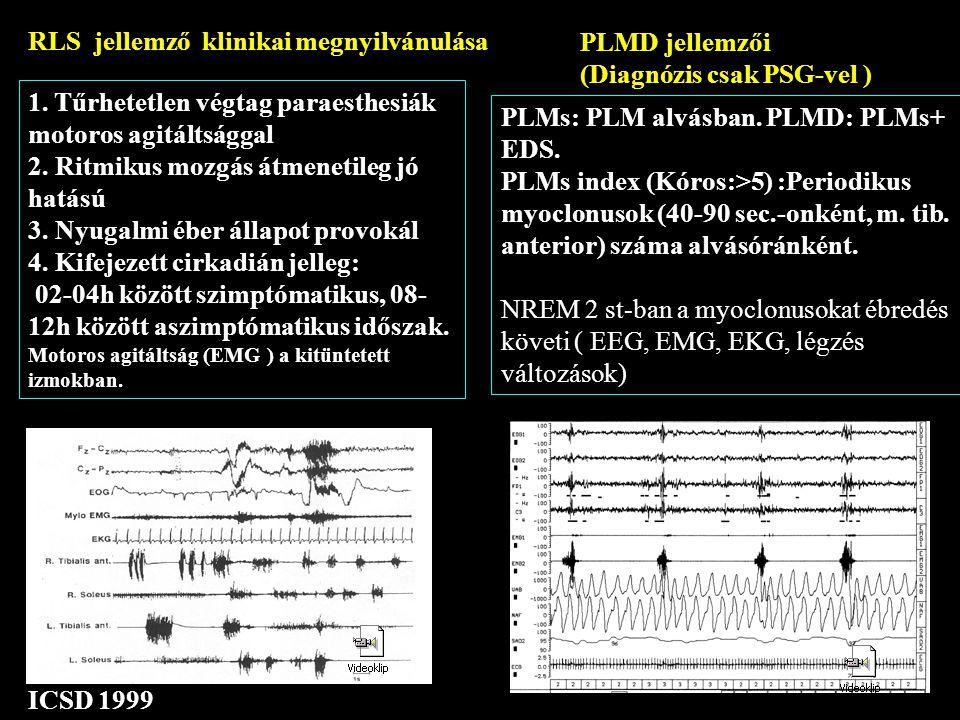 RLS jellemző klinikai megnyilvánulása PLMD jellemzői