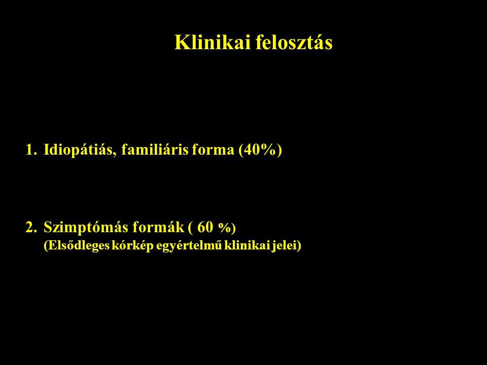 Klinikai felosztás Idiopátiás, familiáris forma (40%)