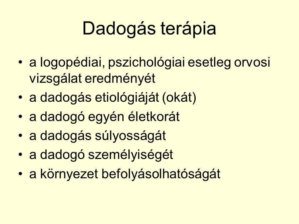 Dadogás terápia a logopédiai, pszichológiai esetleg orvosi vizsgálat eredményét. a dadogás etiológiáját (okát)