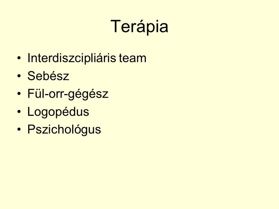 Terápia Interdiszcipliáris team Sebész Fül-orr-gégész Logopédus