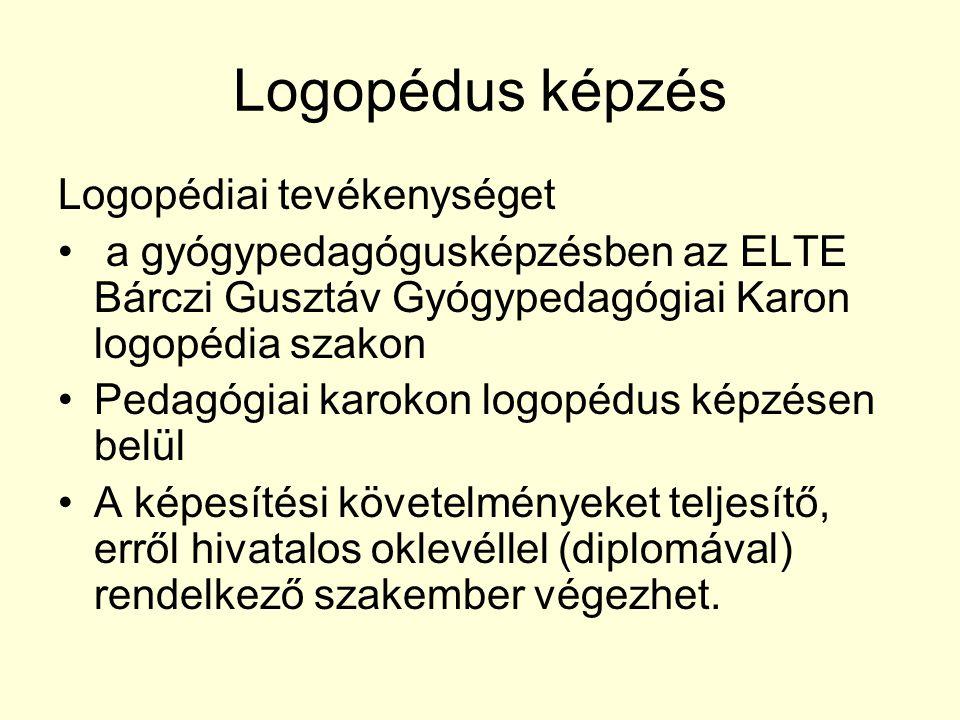 Logopédus képzés Logopédiai tevékenységet