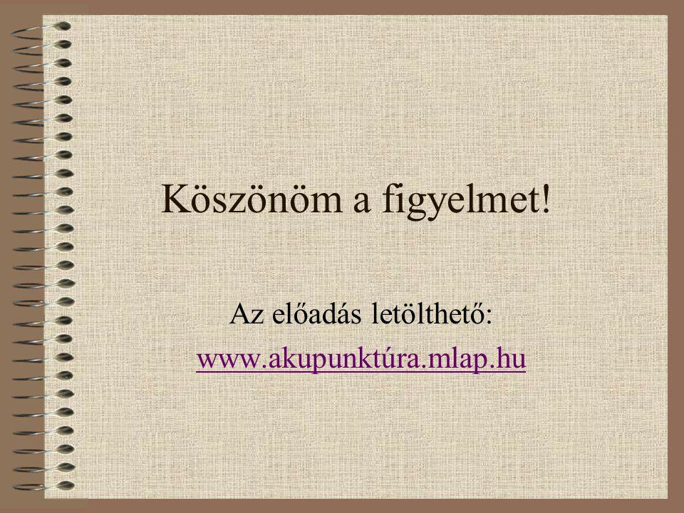 Az előadás letölthető: www.akupunktúra.mlap.hu