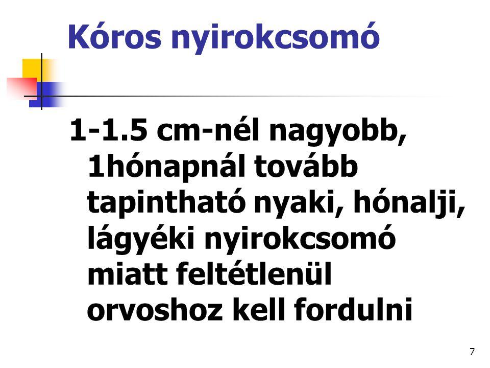 Kóros nyirokcsomó 1-1.5 cm-nél nagyobb, 1hónapnál tovább tapintható nyaki, hónalji, lágyéki nyirokcsomó miatt feltétlenül orvoshoz kell fordulni.