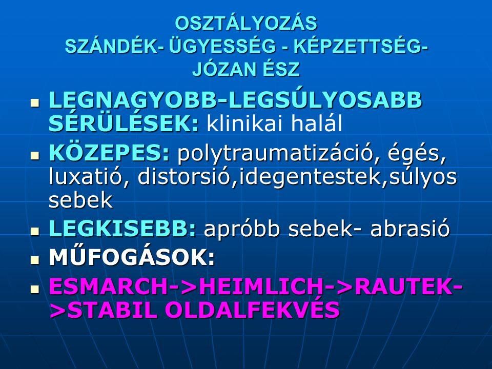 OSZTÁLYOZÁS SZÁNDÉK- ÜGYESSÉG - KÉPZETTSÉG- JÓZAN ÉSZ