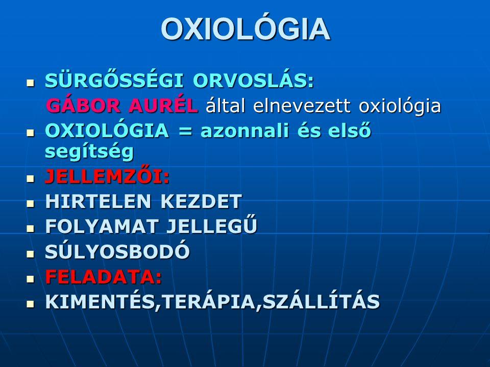 OXIOLÓGIA SÜRGŐSSÉGI ORVOSLÁS: GÁBOR AURÉL által elnevezett oxiológia