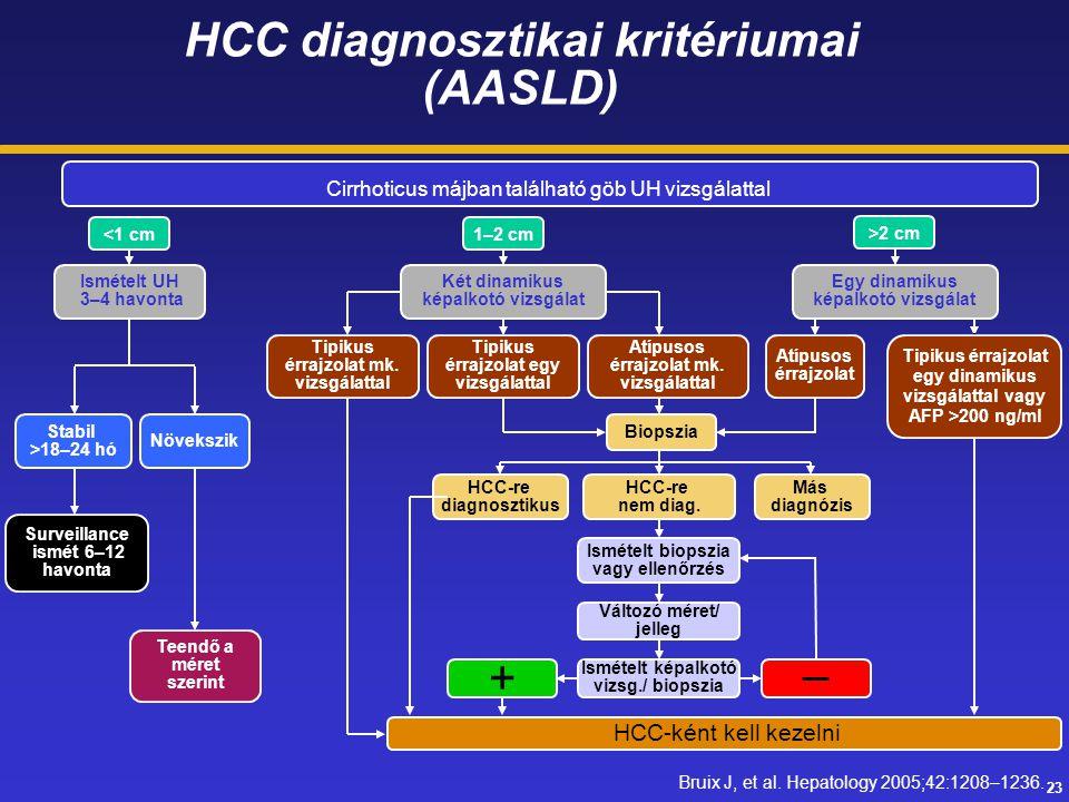 HCC diagnosztikai kritériumai (AASLD)