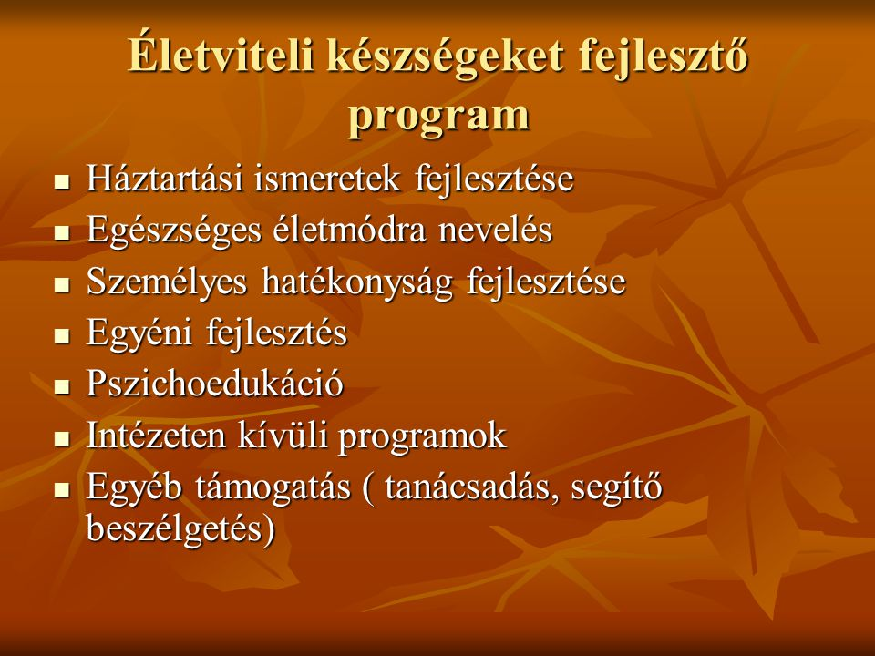 Életviteli készségeket fejlesztő program