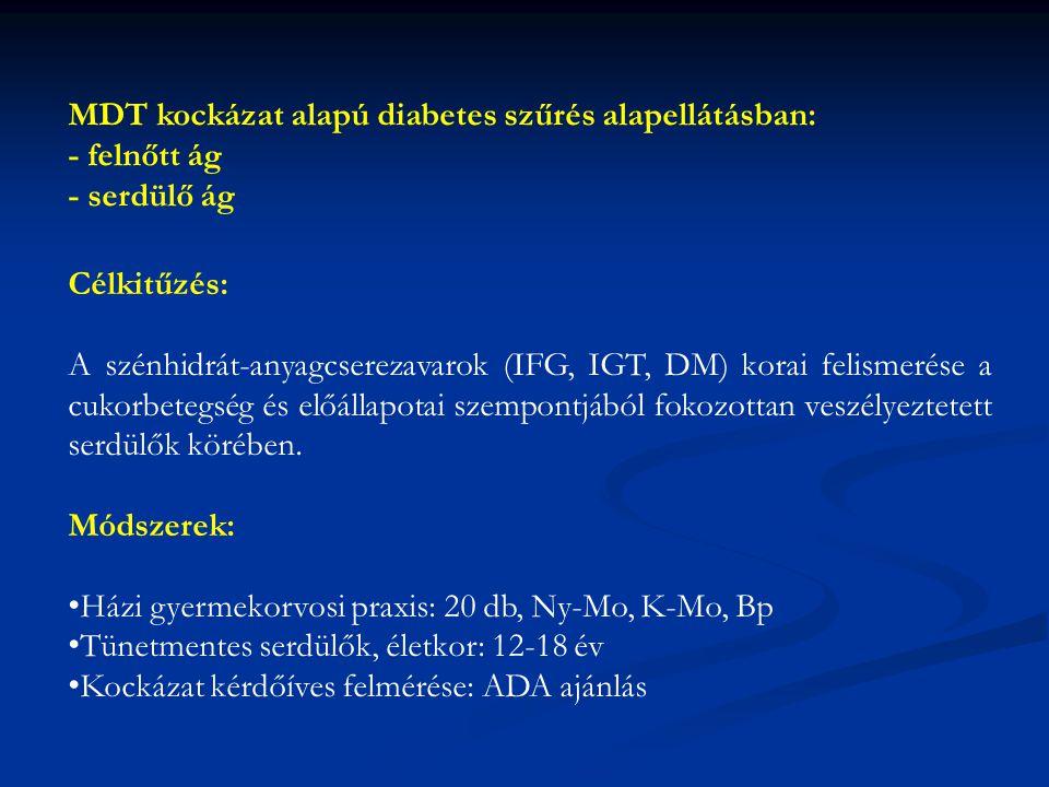MDT kockázat alapú diabetes szűrés alapellátásban: