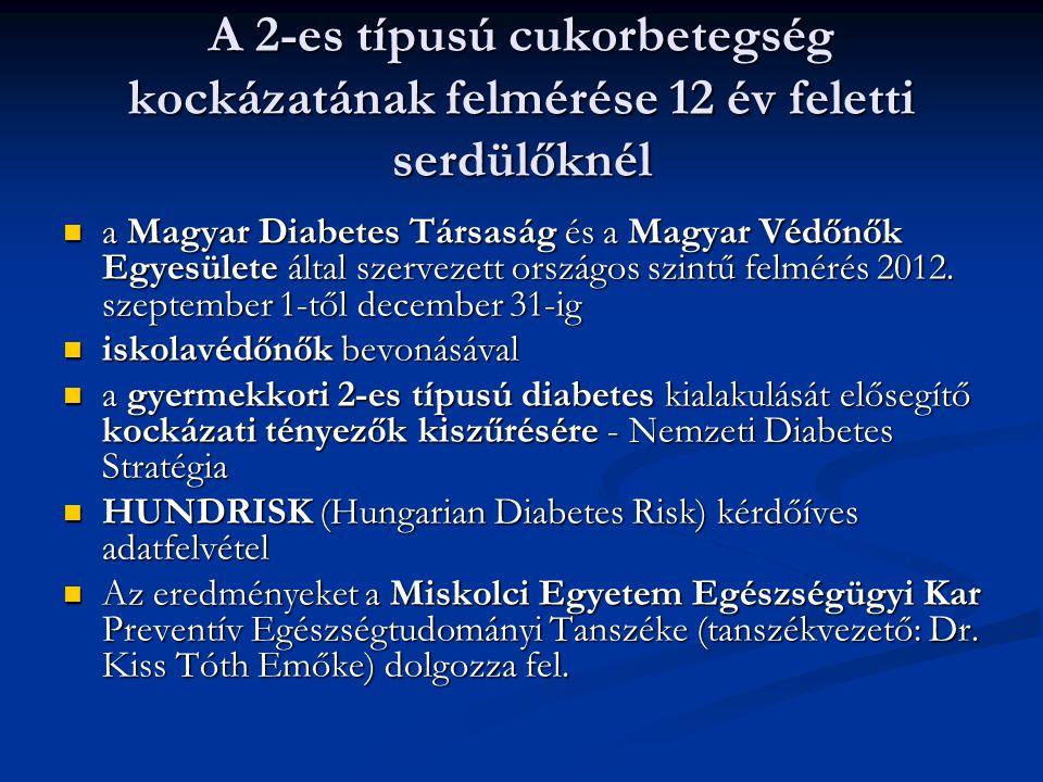 A 2-es típusú cukorbetegség kockázatának felmérése 12 év feletti serdülőknél