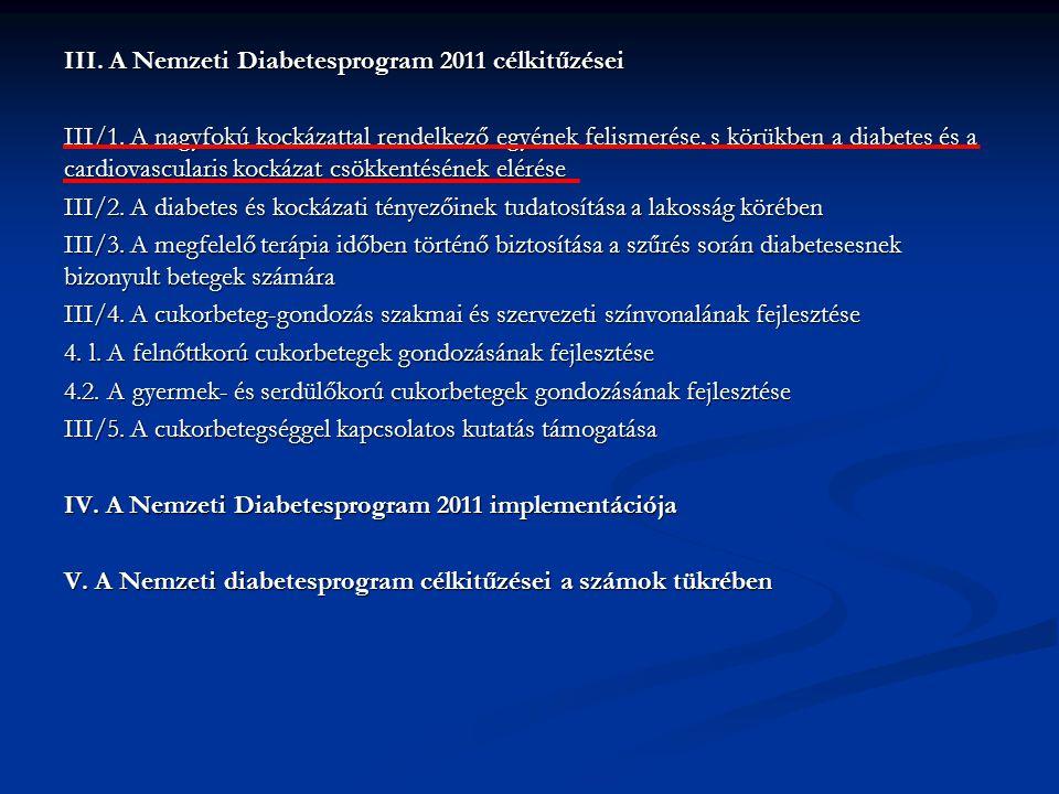 III. A Nemzeti Diabetesprogram 2011 célkitűzései III/1