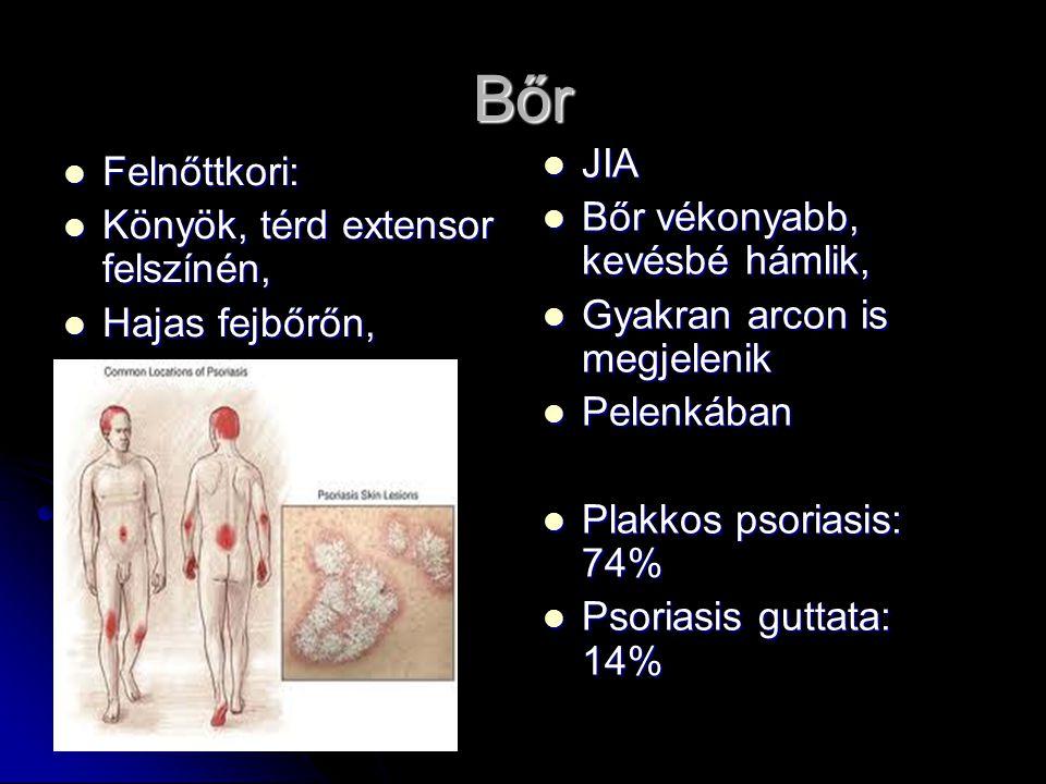 Bőr JIA Felnőttkori: Bőr vékonyabb, kevésbé hámlik,