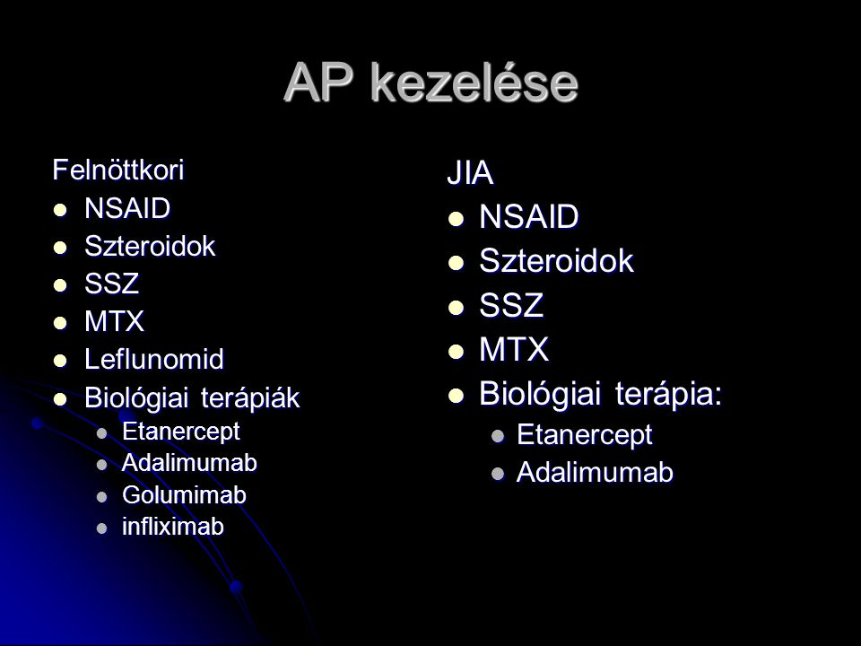 AP kezelése JIA NSAID Szteroidok SSZ MTX Biológiai terápia: