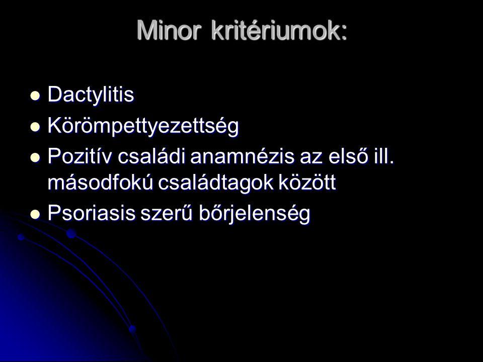 Minor kritériumok: Dactylitis Körömpettyezettség