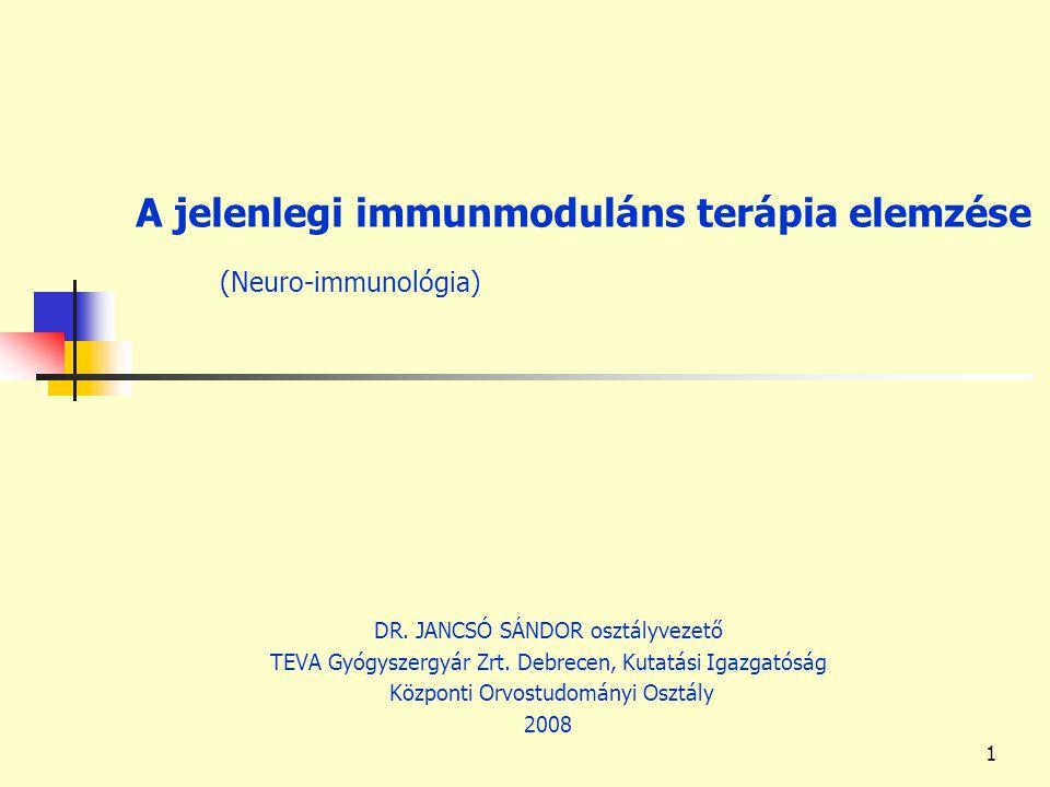 A jelenlegi immunmoduláns terápia elemzése (Neuro-immunológia)