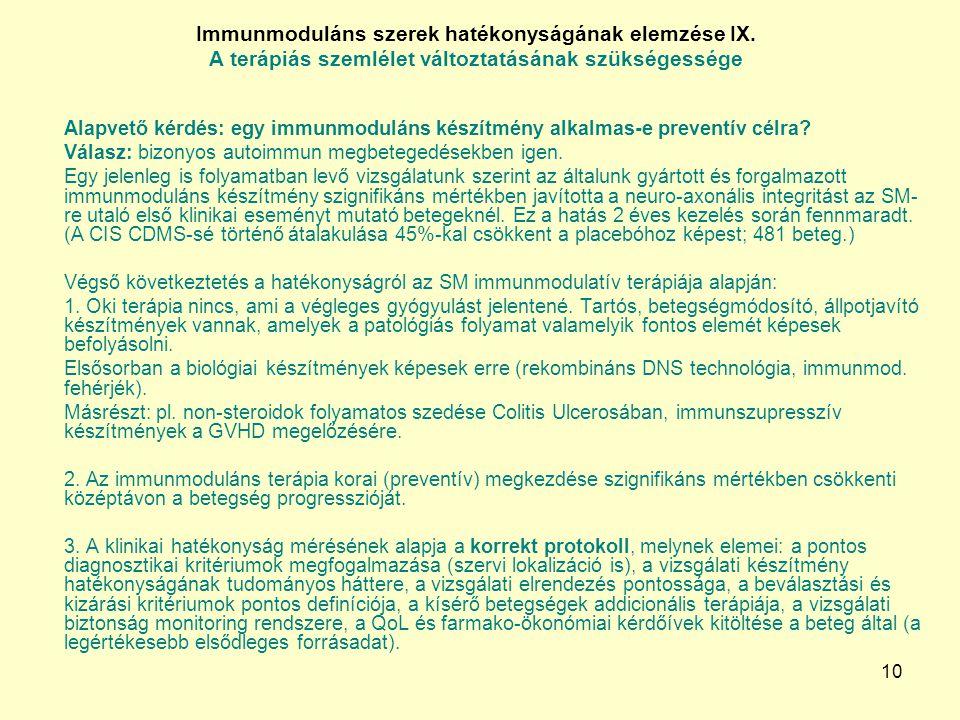 Immunmoduláns szerek hatékonyságának elemzése IX.