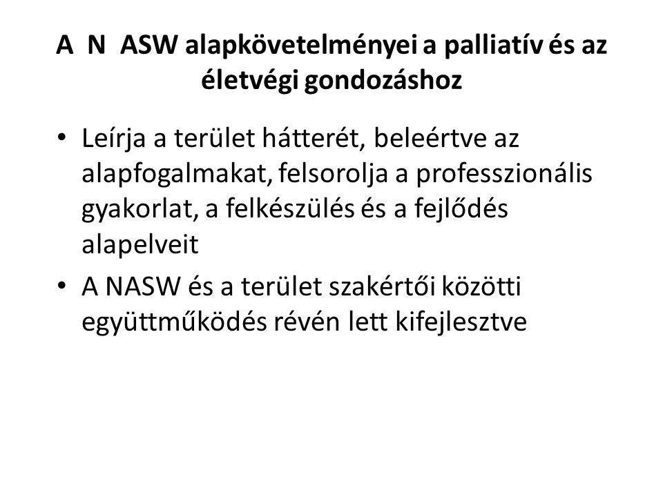 A N ASW alapkövetelményei a palliatív és az életvégi gondozáshoz