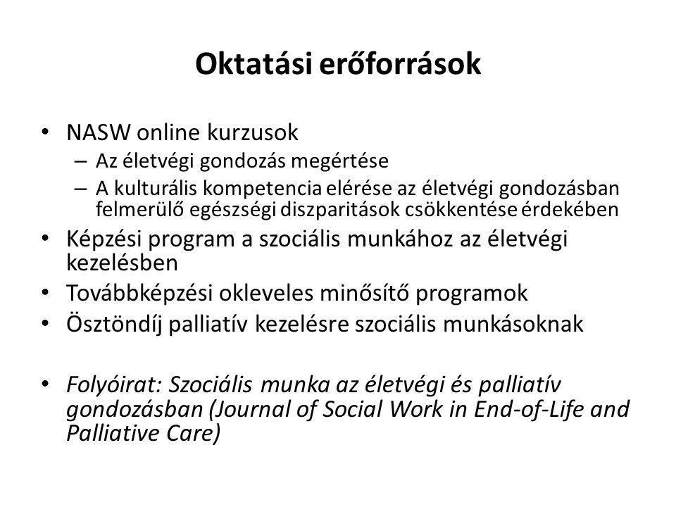 Oktatási erőforrások NASW online kurzusok