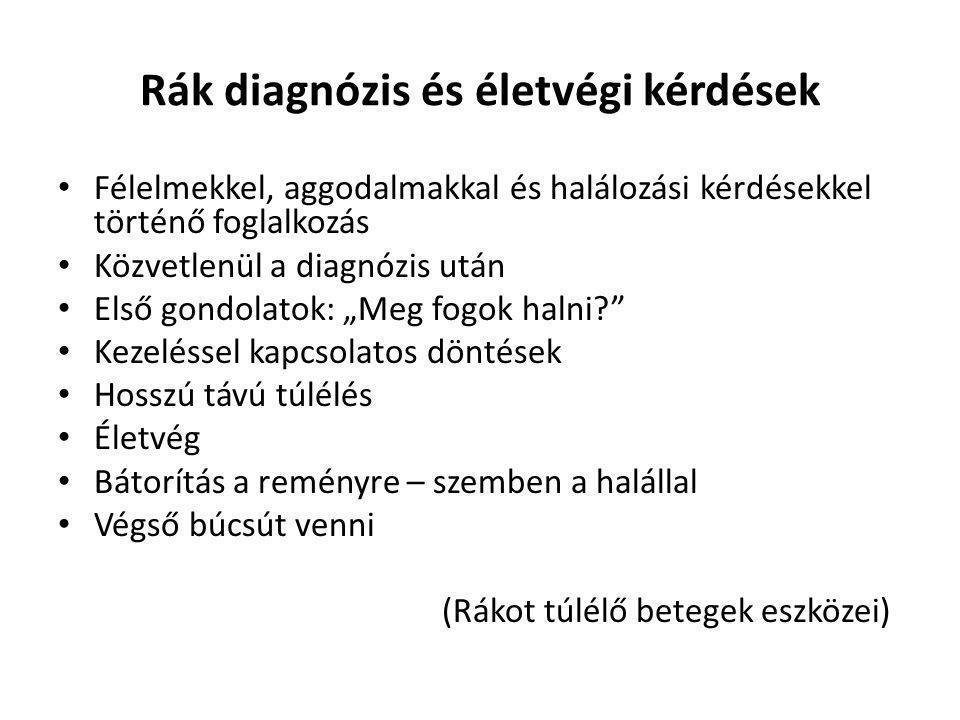 Rák diagnózis és életvégi kérdések